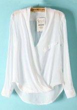 White Plain Irregular Long Sleeve Cotton Blend Blouse