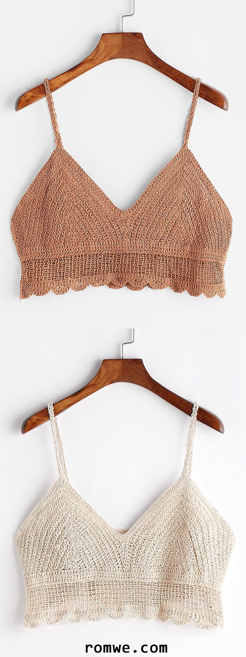 Scalloped Hem Crochet Cami Top | Romwe Women Style | Pinterest