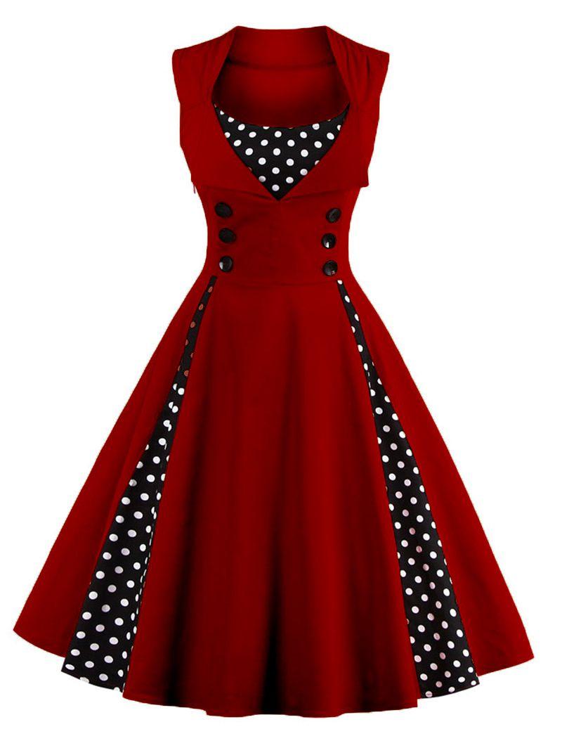 Retro Button Embellished Polka Dot Dress