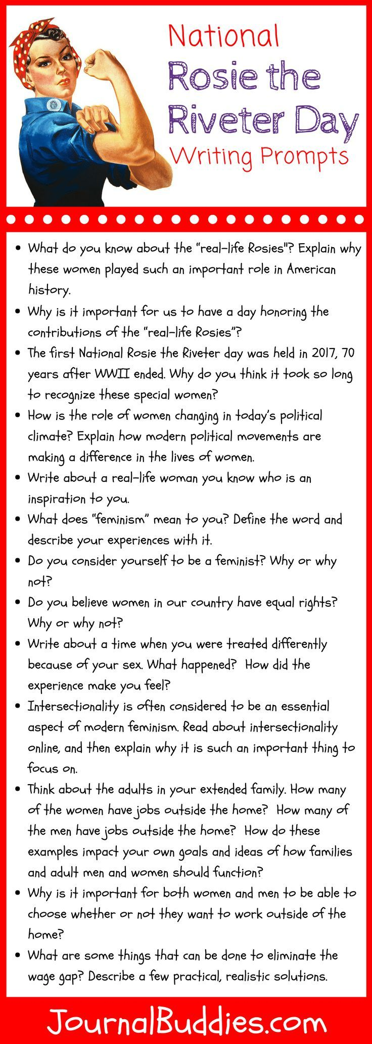 005 National Rosie the Riveter Day Writing Prompts! Writing