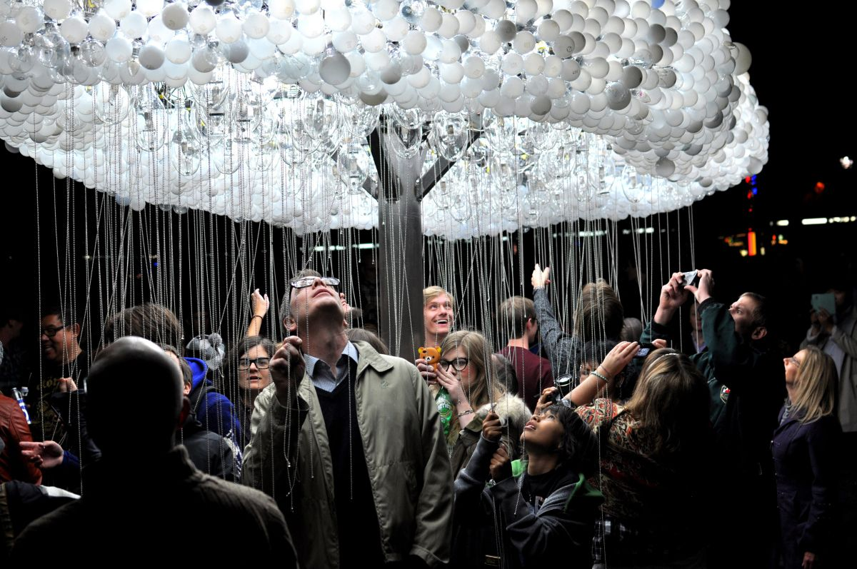 Cloud made from over 5000 burnt out lightbulbs at Nuit Blanche Calgary