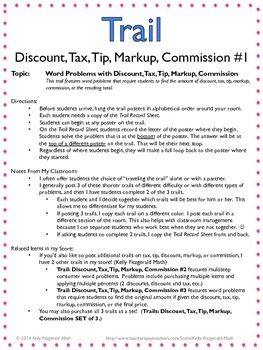Trail Discount Tax Tip Markup Commission 1 Unit 10 Percents