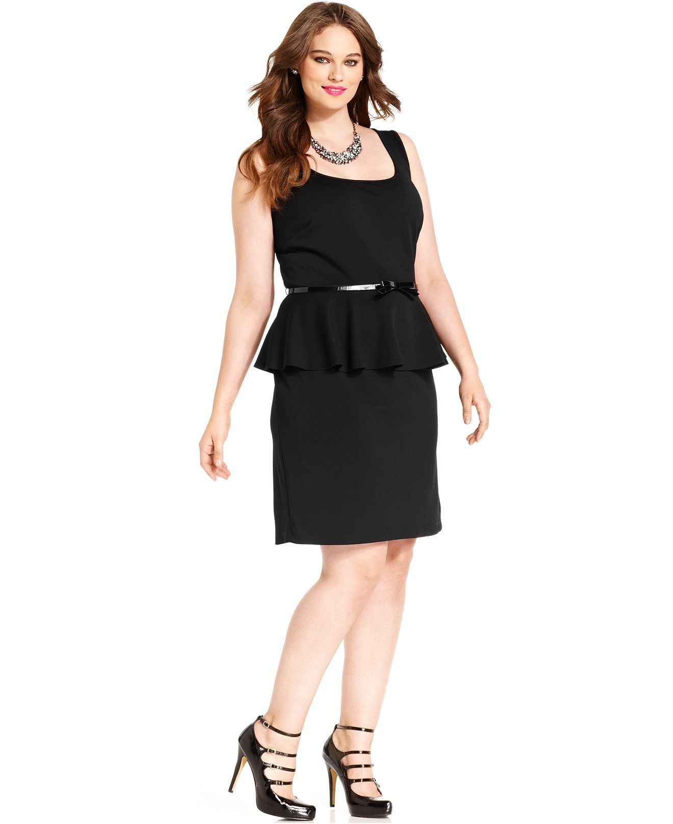 Plus size dresses for a wedding  Love Squared Plus Size Dress Sleeveless Peplum LaceBowBack  Plus