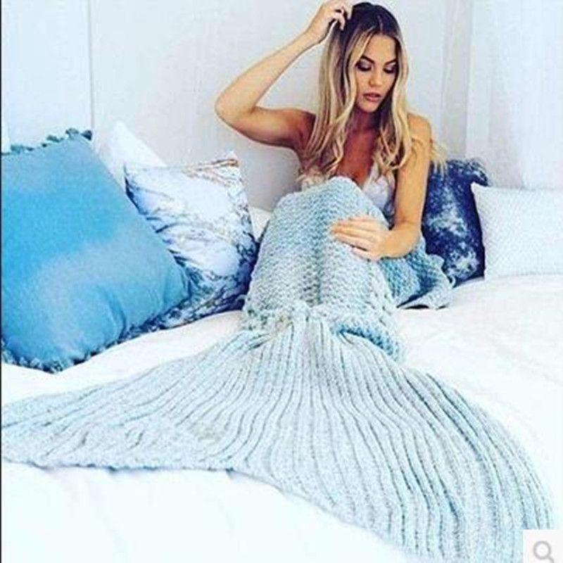 Yarn Knitted Mermaid Tail Blanket Handmade Crochet Mermaid