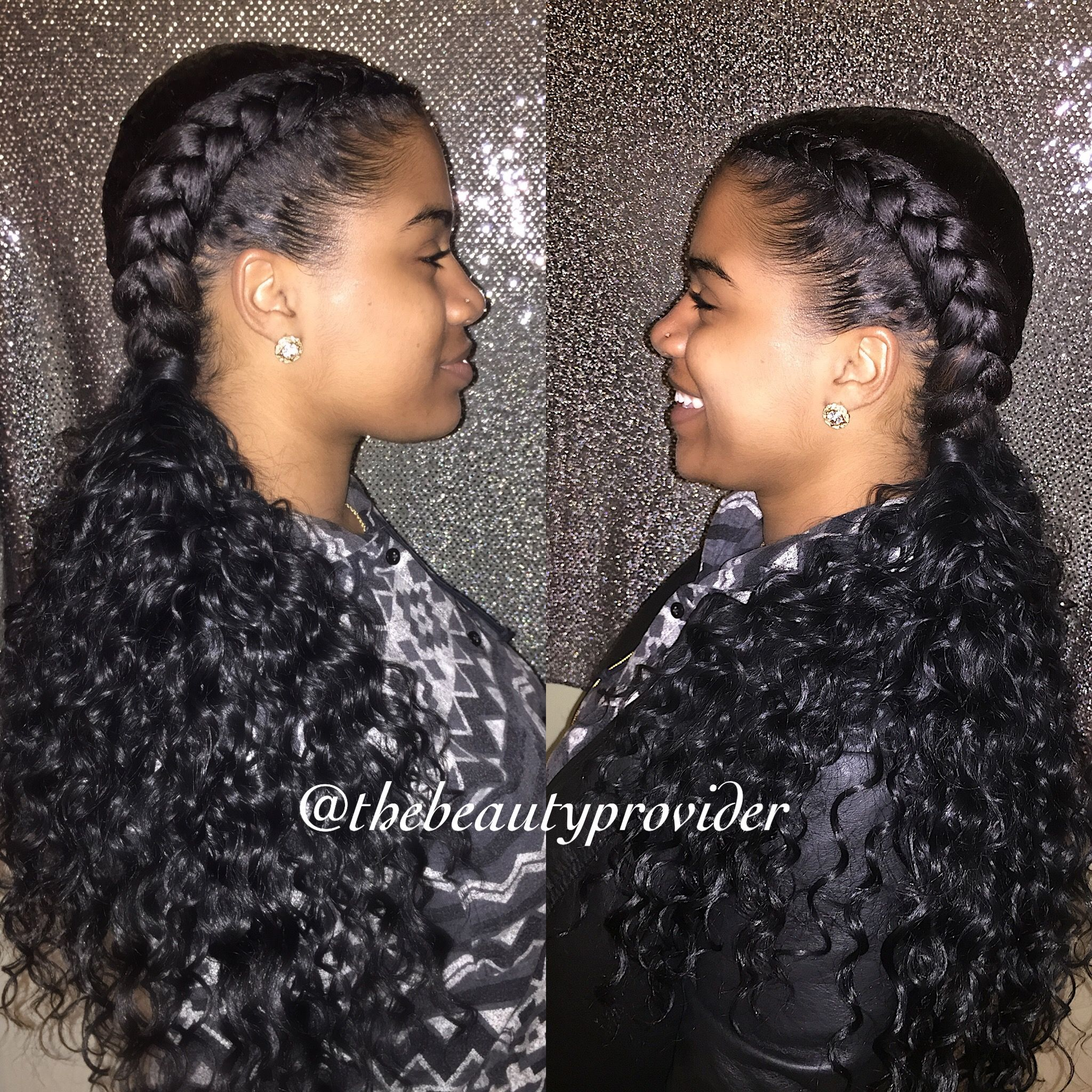 Braidedbytee On Instagram 2 Braids Into 2 Invisible Ponytails On Candyglitzshock We Us Curly Hair Styles Human Hair Lace Wigs Brazilian Human Hair