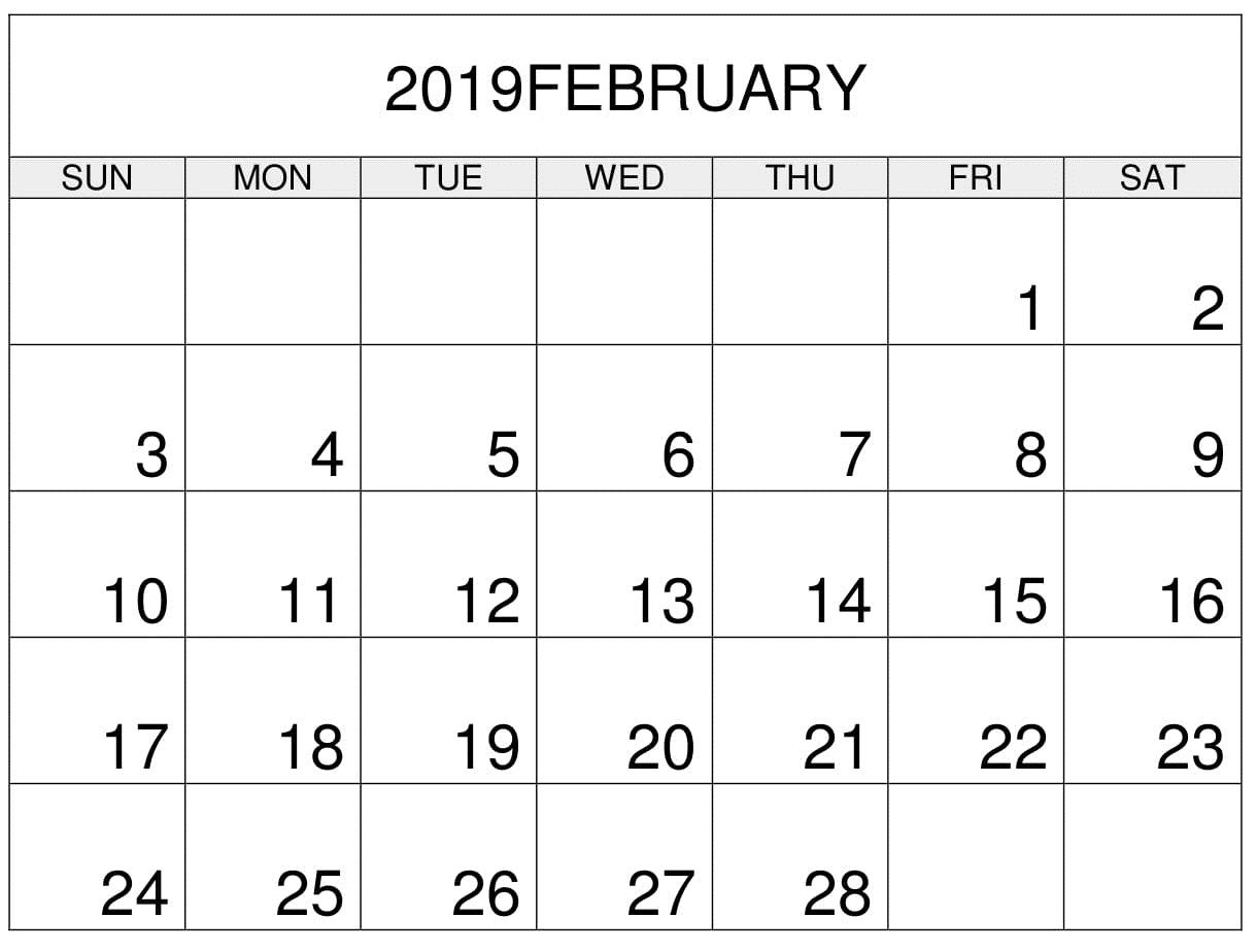 Printable Calendar February Custom