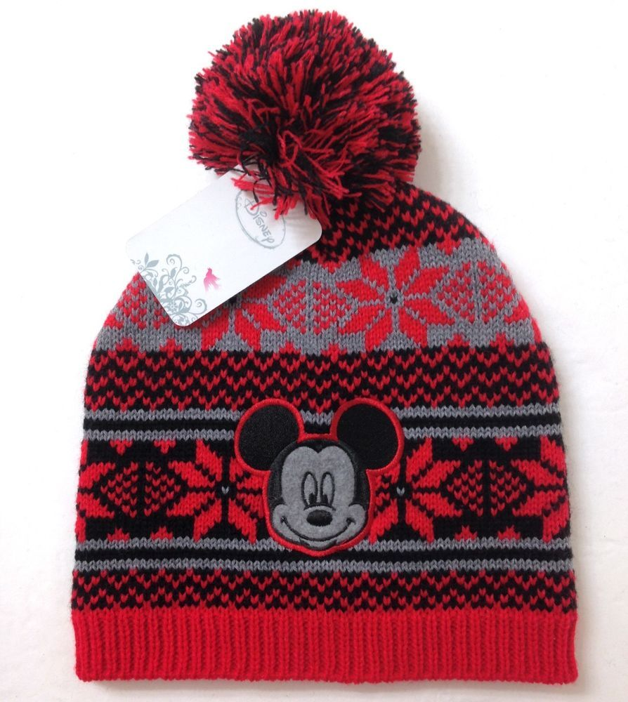 new MICKEY MOUSE UGLY SWEATER POM BEANIE Christmas Winter Knit Ski Hat  Women Men  Disney  Beanie 415b2254e3f0