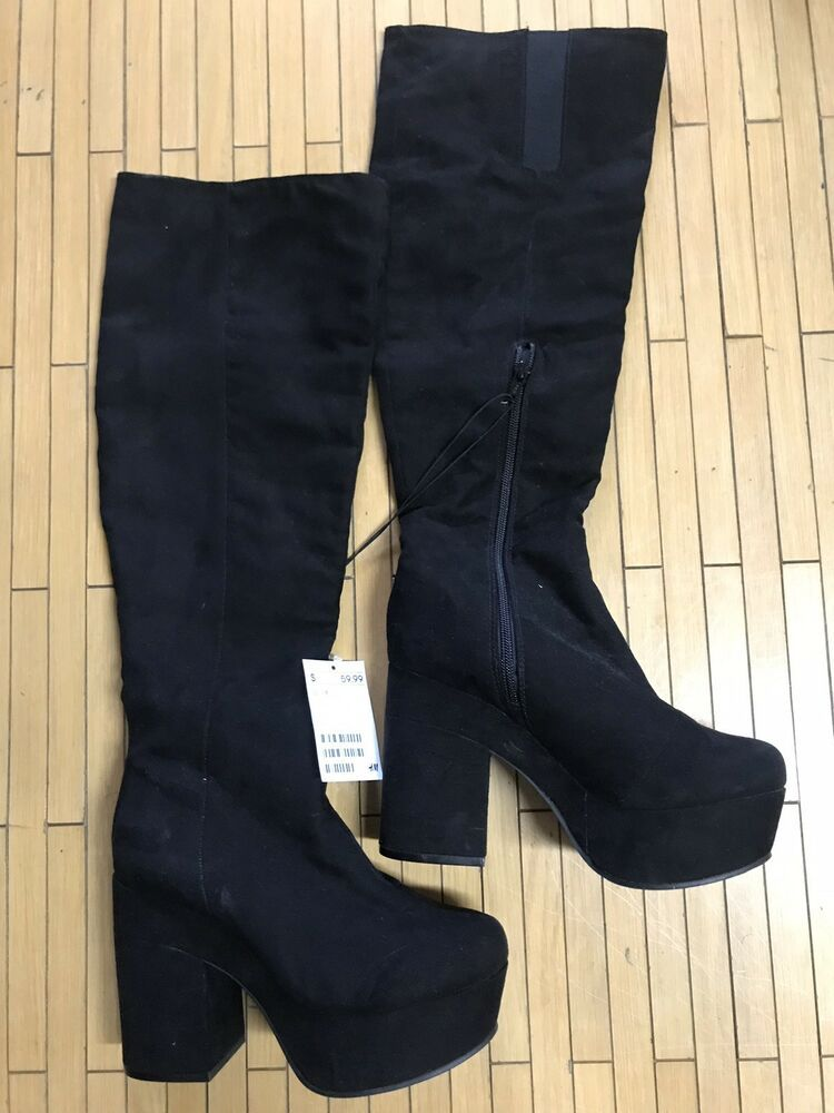 H M Black Suede High Heel Platform Knee High Boots Fashion Clothing Shoes Accessories Womensshoes Boots Ebay L Boots Clarks Ankle Boots Suede High Heels