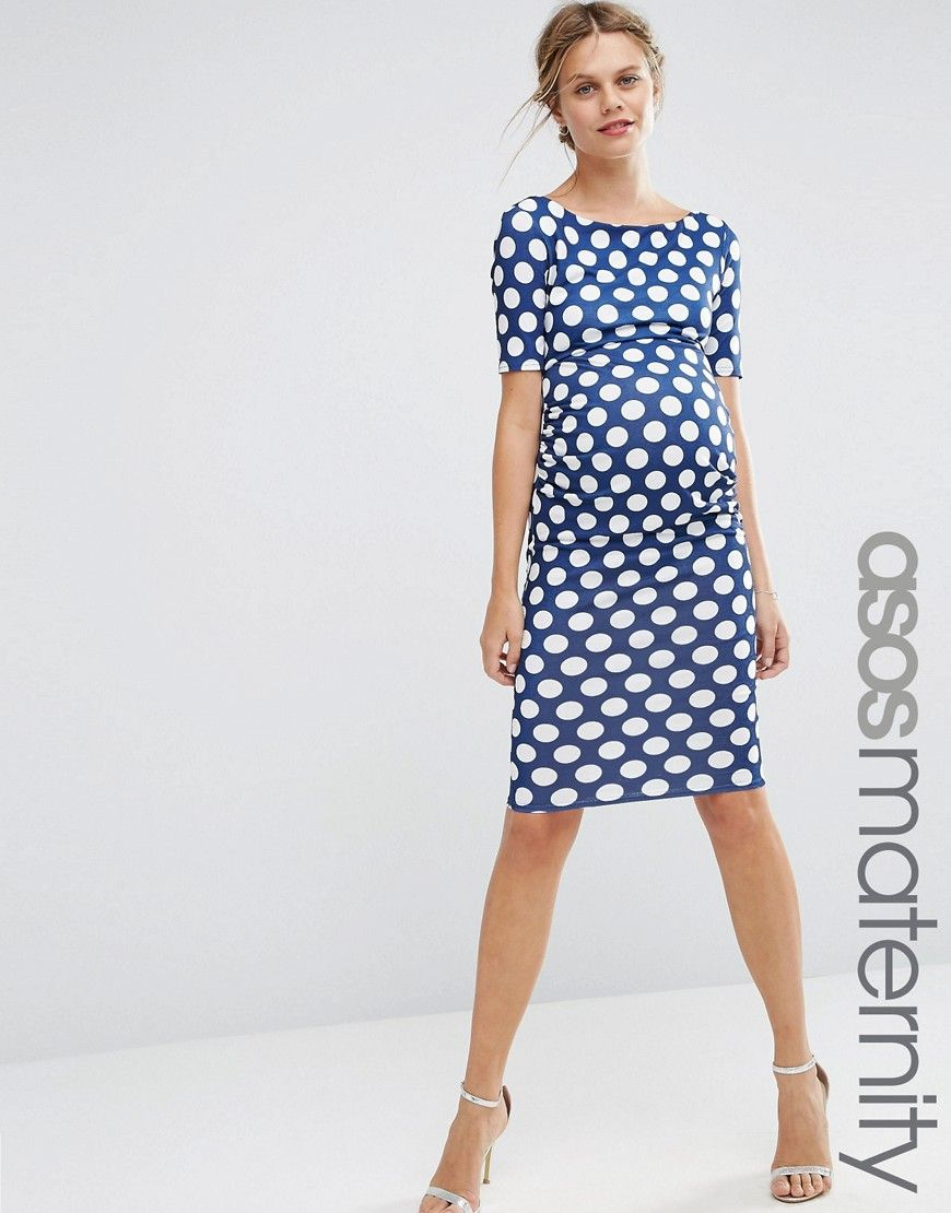 Image 1 of asos maternity bardot dress with half sleeve in spot discover the latest maternity dresses at asos shop for maternity maxi dresses pregnancy dresses and special occasion maternity dresses online with asos ombrellifo Gallery