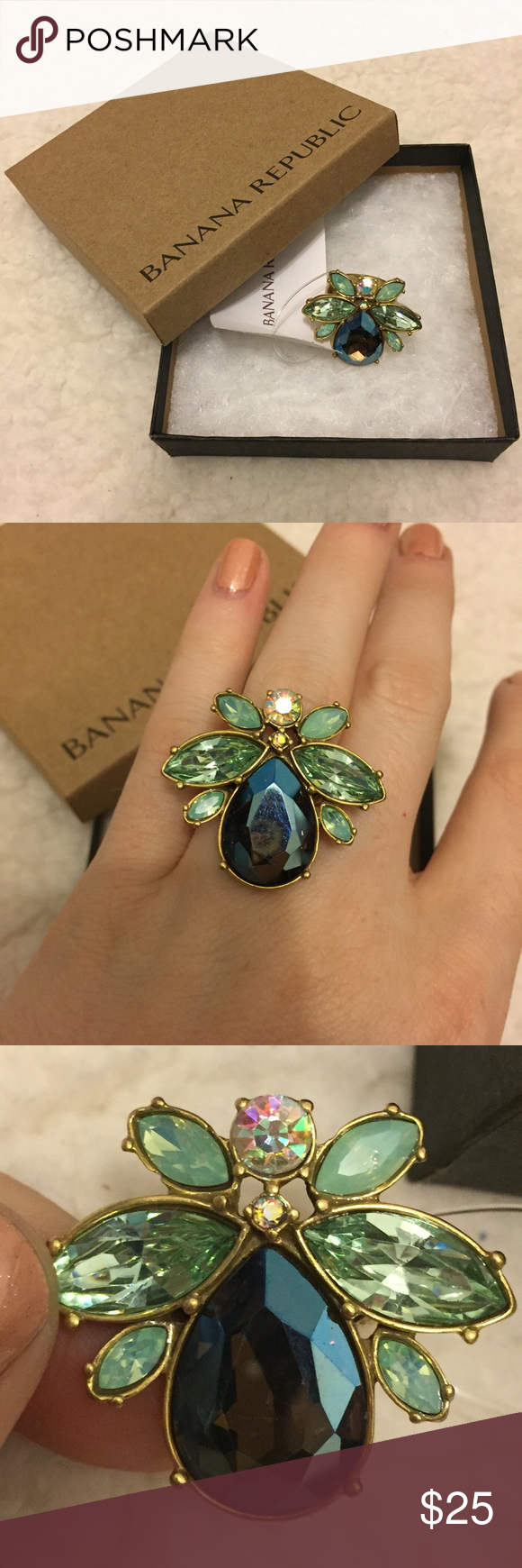 Banana Republic Jeweled Bug Ring! Gorgeous oversized ring! Multi colored stones! Size 6. Trendy for spring! Brand new with tags! No holds or trades. Final price unless bundled! I only sell on posh :) IN700# Banana Republic Jewelry Rings