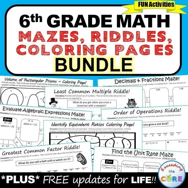 6th Grade Math Mazes, Riddles & Color by Number BUNDLE
