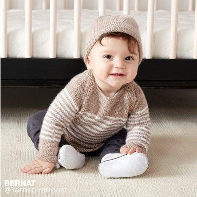 Bernat Wee Stripes Knit Pullover and Hat Free Pattern | Bebé, Cómo ...
