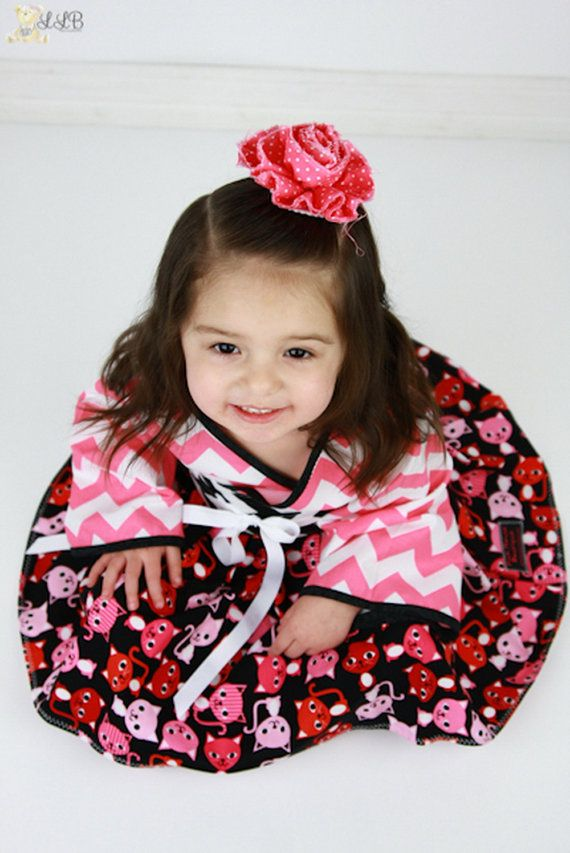 Girls Kimono Dress in RB Pink Chevrons