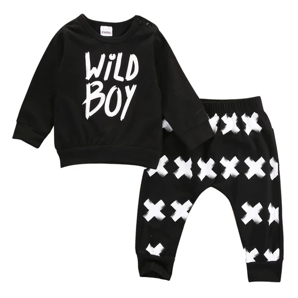2pcs Kids Baby Boy Girl Clothes Long Sleeves Tops+Pants Cotton Casual Outfit Set