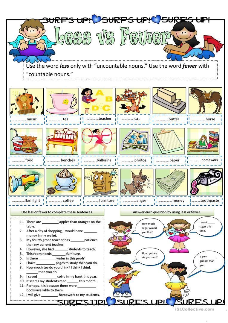 Less vs Fewer Writing skills, Elementary school students