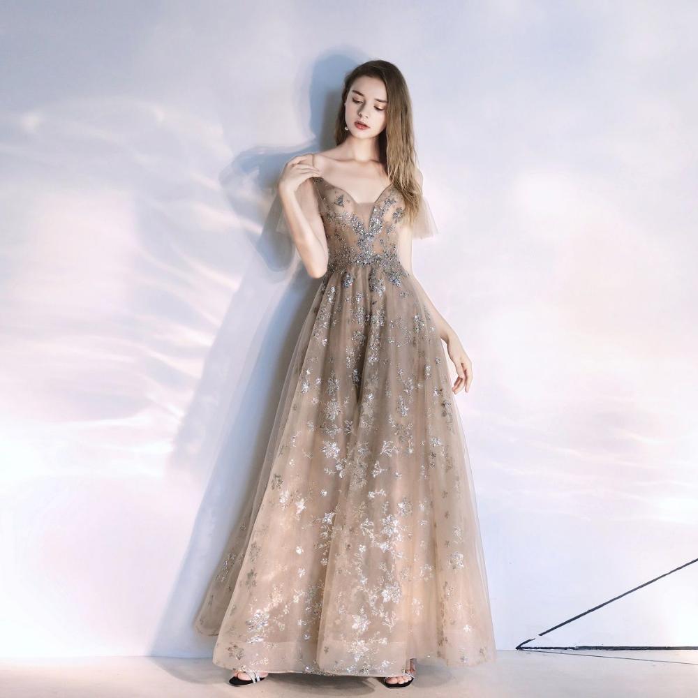Photo of Mode Khaki Abendkleider 2020 A-Linie / Prinzessin Spaghettiträger Perlen Kristall Spitze Pailletten Kurzarm rückenfreie bodenlange / lange Abendkleider
