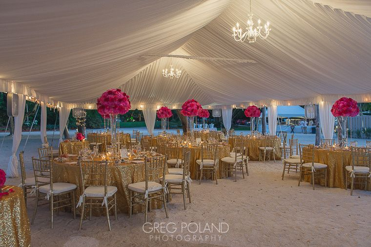 Elegant Contrast Fuchsia Gold And White At Key Largo Lighthouse Beach Wedding Venue In The Florida Keys