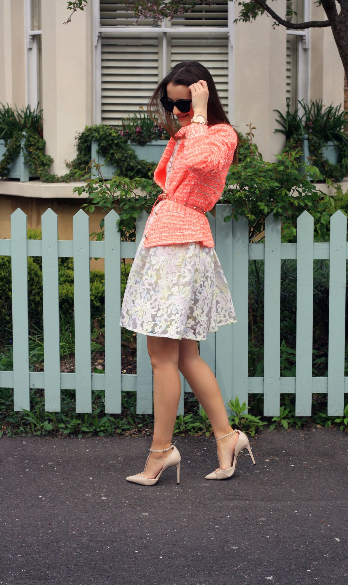Blogger Andreea from  Dreaming of Chanel  looks stunning in the Yumi Neon  Boucle Jacket and Yumi Pastel Perfection Dress c9a5c8b55d5