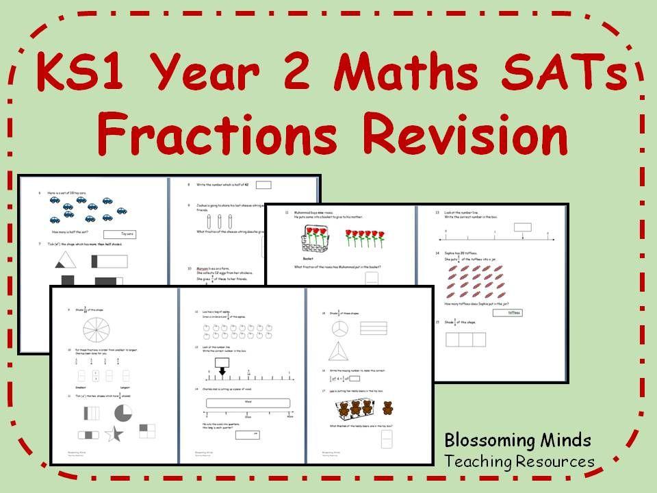 Ks1 Year 2 Maths Sats Fractions Revision Teaching Resources Year 2 Maths Fractions Math