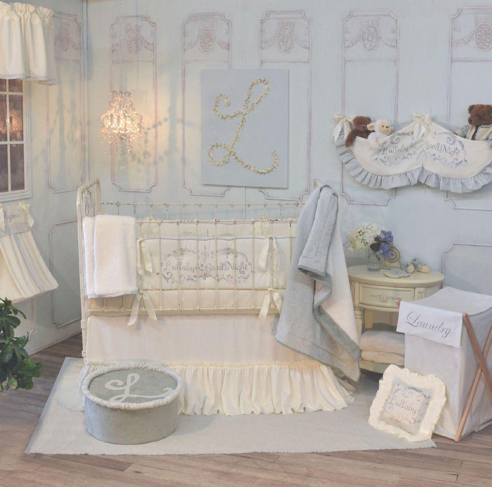 285 Blue And Cream French Farmhouse Inspired Crib Bedding Nursery