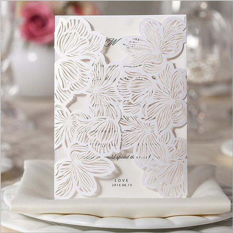 1pcs Sample Hollow White Rose Flower Laser Cut Wedding Invitations Card Personalized Custom Envelope
