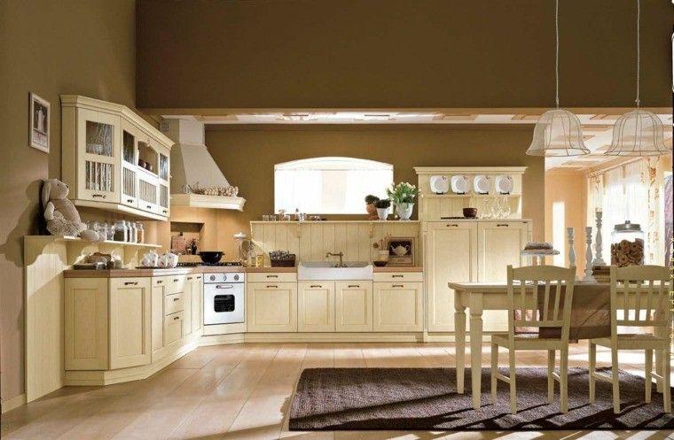 cocinas estilo lamparas colgantes campanas alfombra Interiores