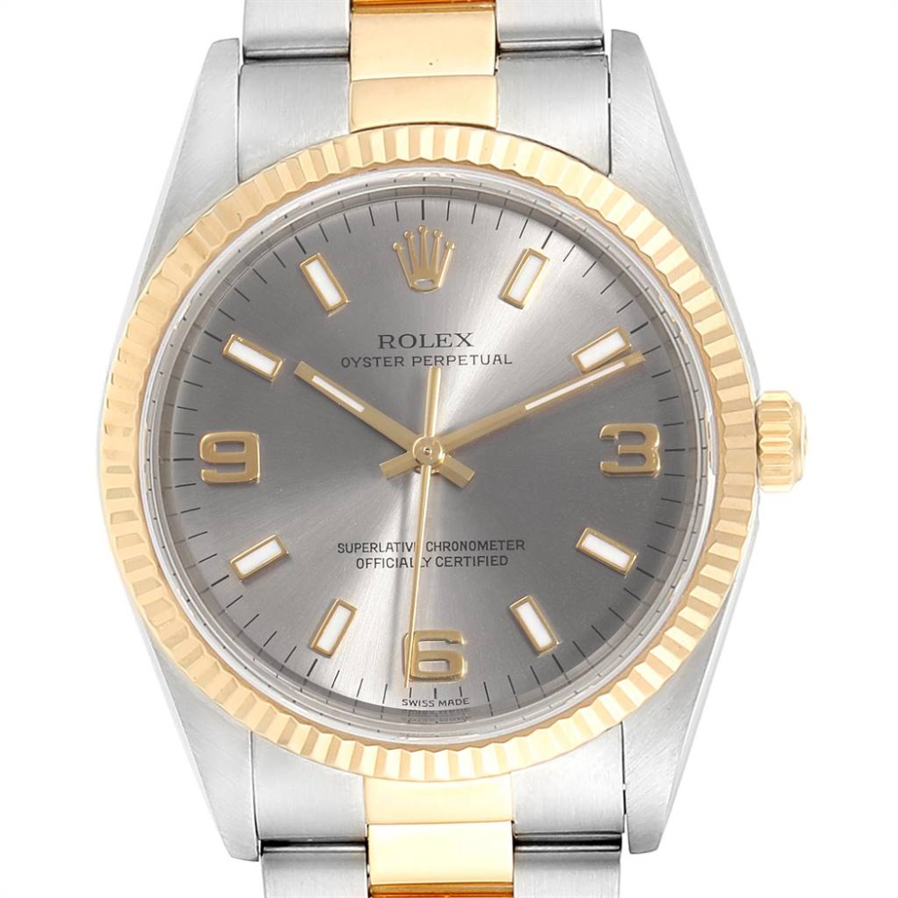 Rolex Oyster Perpetual Steel Yellow Gold Slate Dial Mens Watch 14233 | SwissWatchExpo #rolexwatches