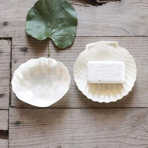 Capiz Shell Soap Dish - Set of 2 | dotandbo.com.  I've got a dozen of these from the Philippines.  I've used them for sorbets between courses.