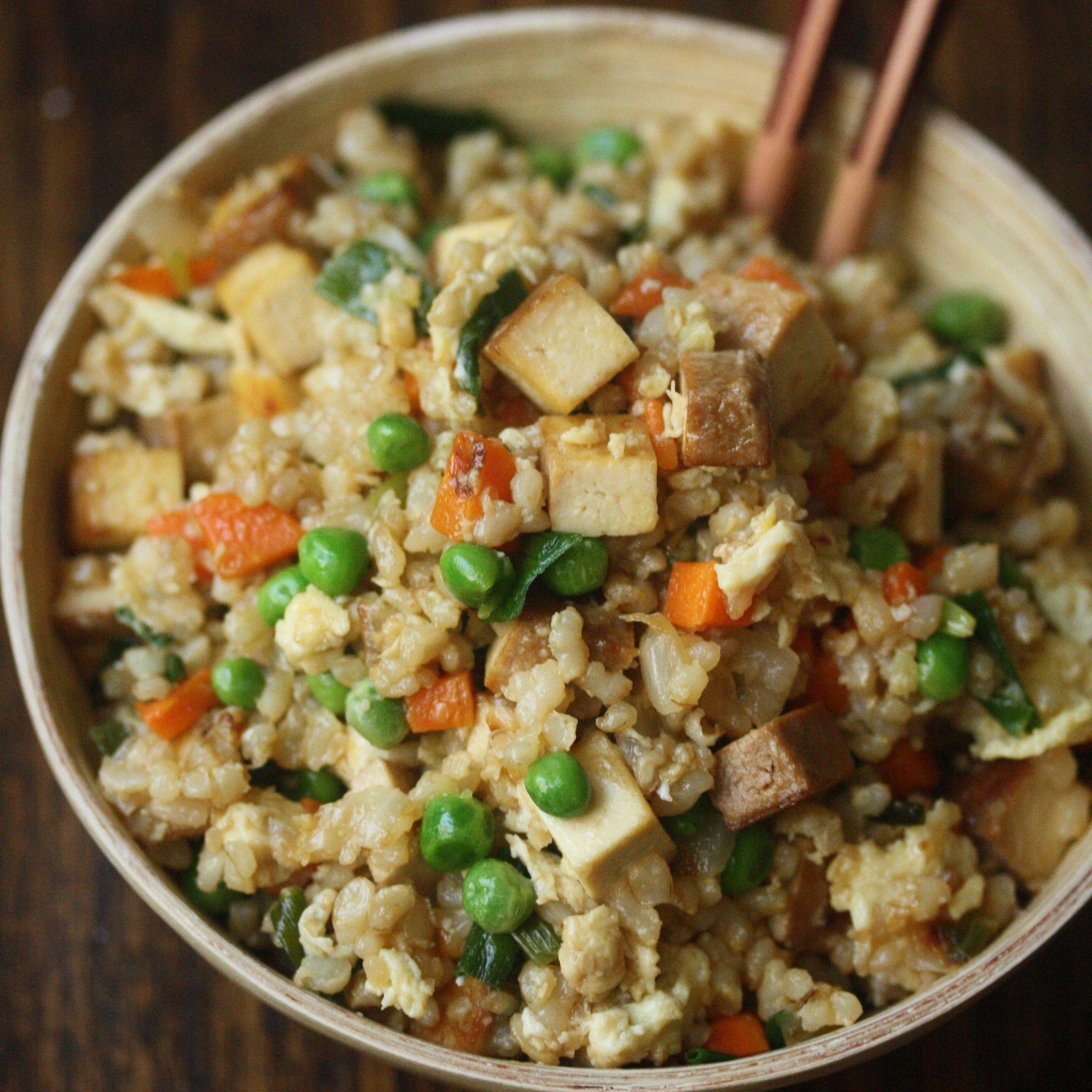 Smoked Tofu Fried Brown Rice With Sweet Peas Recipe Recipe Pea Recipes Recipes Tofu Recipes