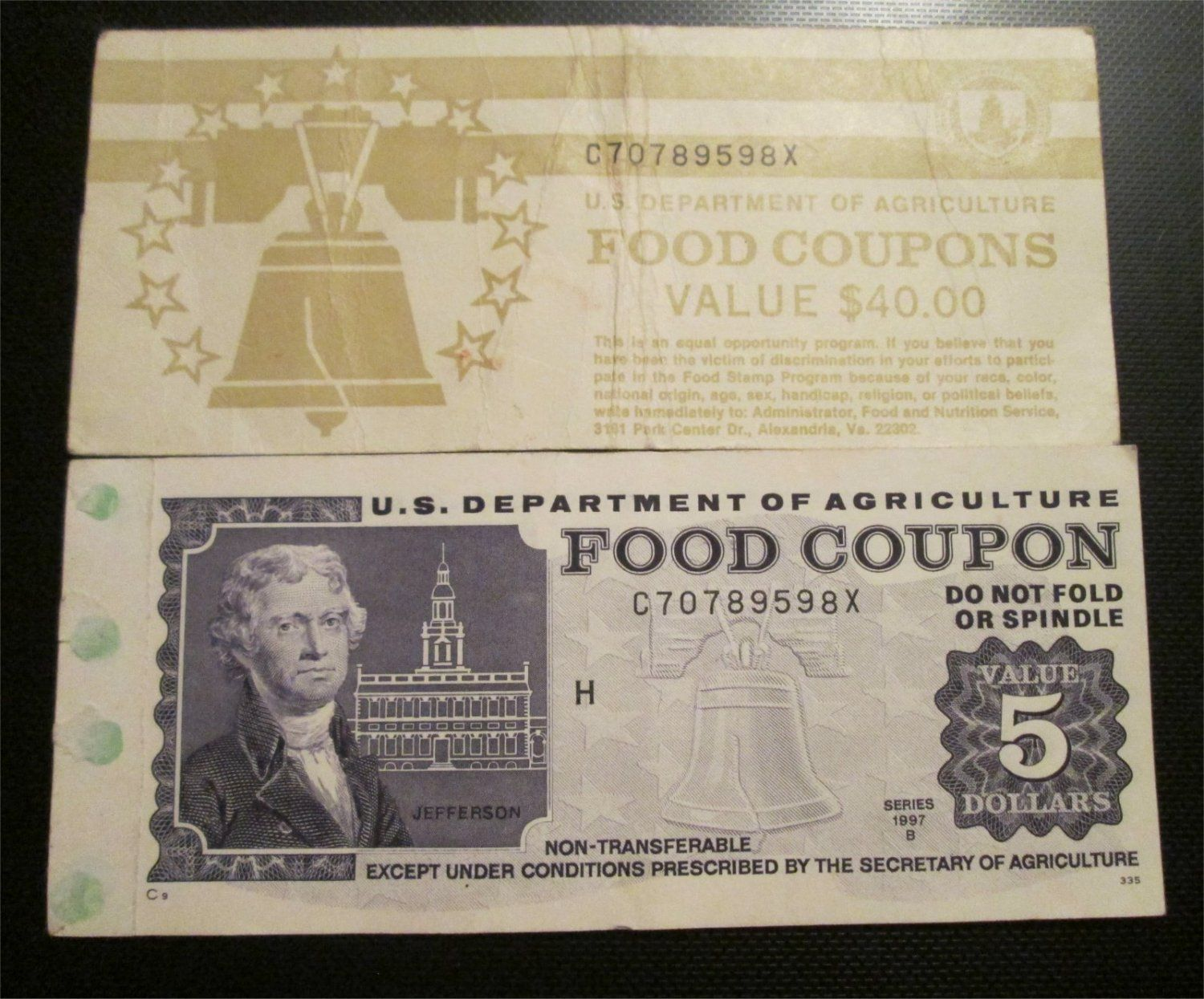 $30 USDA Incomplete Food Coupons Real Vintage Food stamps 1997B  C70789598X     Incomplete Book of USDA food stamps. $30 Dollars in Food Coupons,   Yo