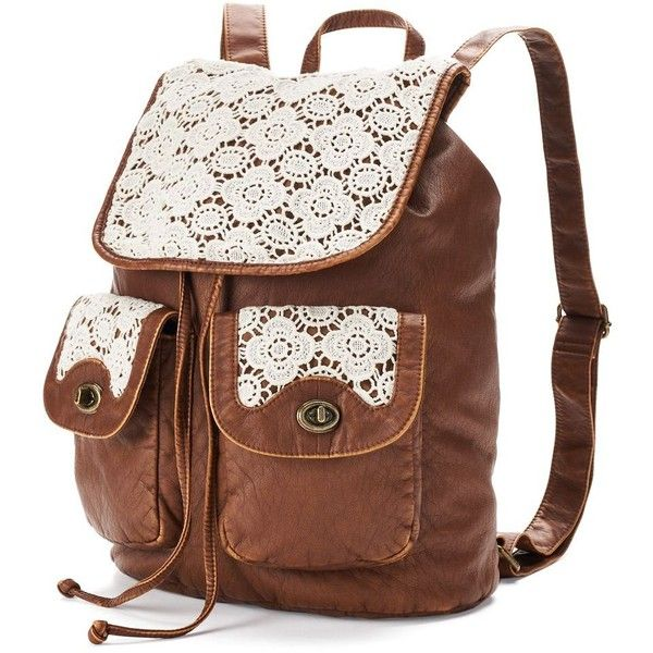 Prepare for fall fashion with this backpack by Mudd, featuring a roomy interior that fits all your essentials and crocheted details that add feminine flair. In…