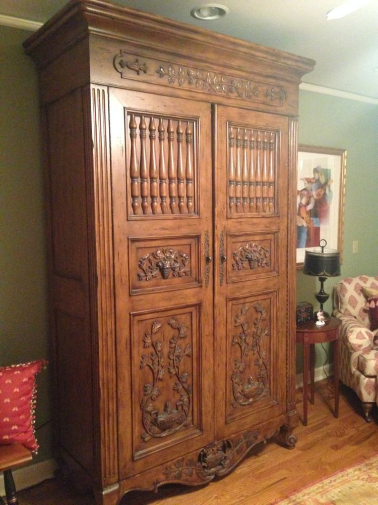 french antique hand carved armoire. Drexel Entertaiment Armoire Cabinet. French Country, Hand Carved, Solid Wood Antique Carved