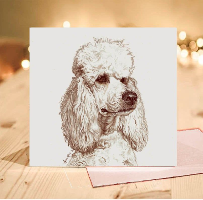 Poodle Greeting Card White Standard Joey Blank Inside From