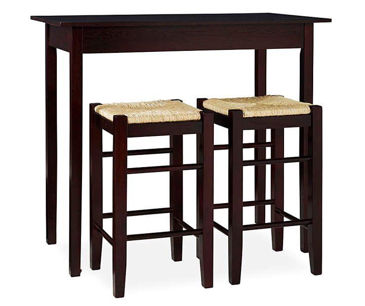 Colton 3 Piece Pub Table Set With Rush Stools Pub Table Sets