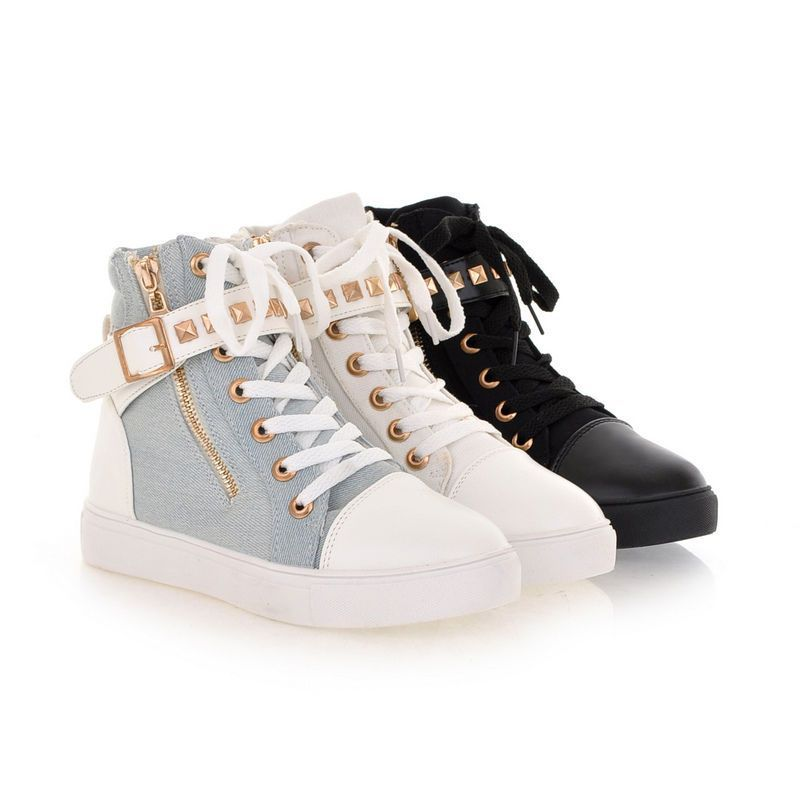 Fashion Women Casual Athletic High-Top Rivet Strappy Buckle Zipper Sneaker Shoes