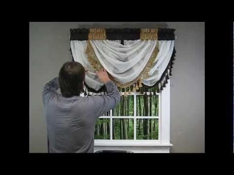 Video 36 Diy Drapery Luxurious Window Treatments With Valances Swags Scrolls And Holdbacks Youtube Waterfall Valance Valance Diy Valance