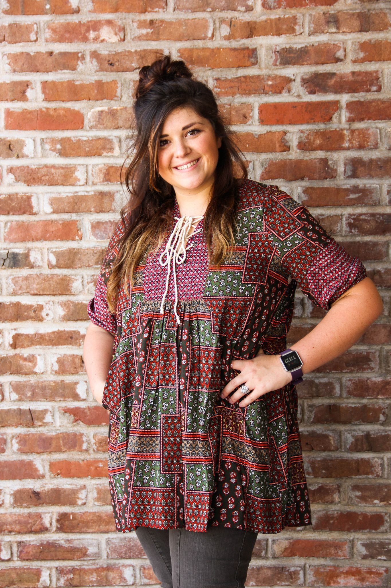 Patchwork style Half Sleeve Lace Tunic