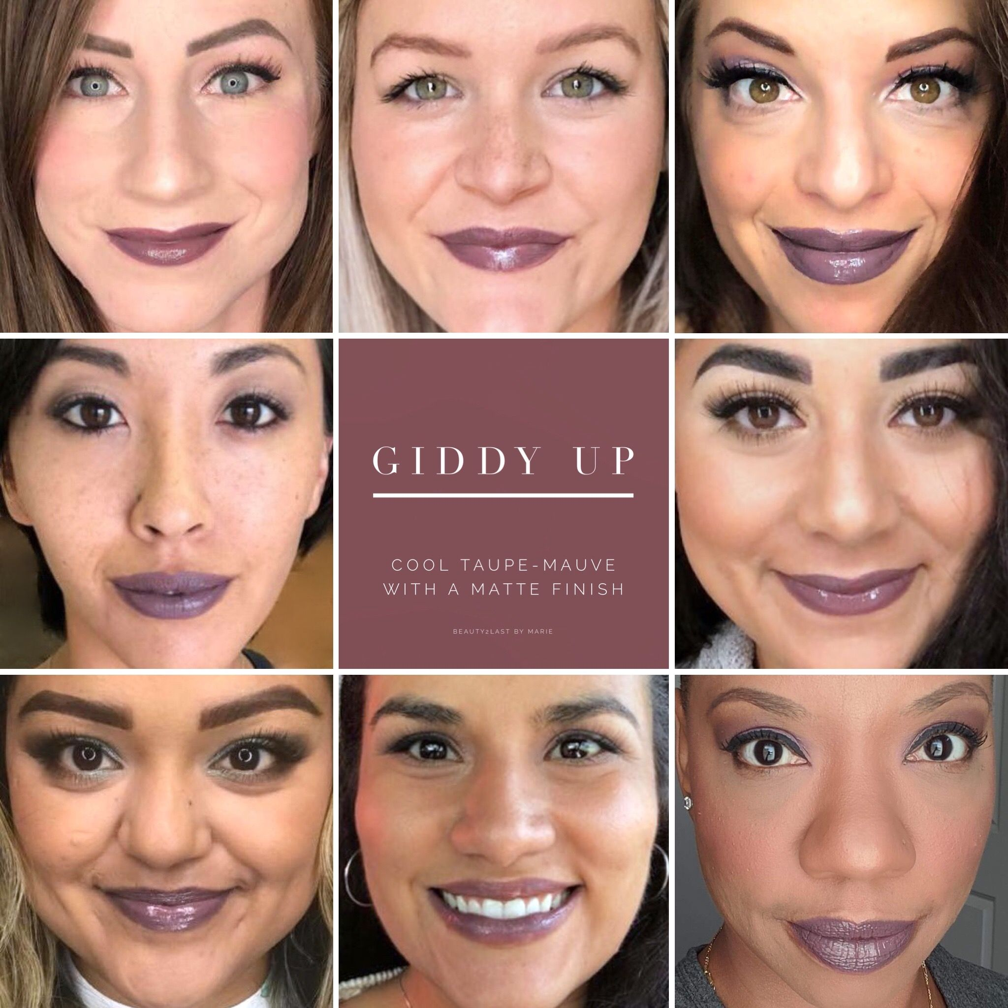Giddy Up LipSense selfies! Giddy Up is a mauve -taupe lip color perfect for fall. LipSense is a long lasting lip color that will last 4-18 hours when worn with our gloss, and is smudge proof, budge proof, water resistant, and kiss proof!