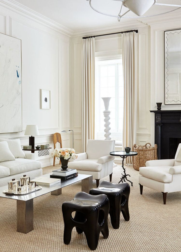 Maisons · design by alyssa kapito interiors love the wood trim and all white walls