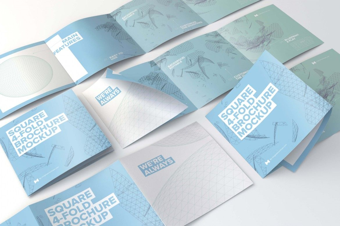 Square Fold Brochure Mockup Pack  By Original Mockups On