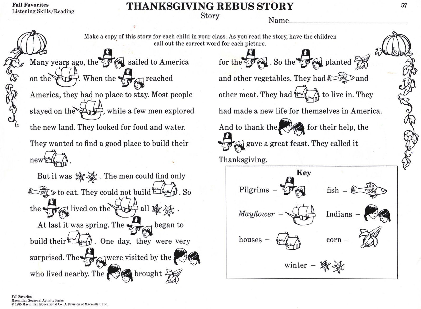 Thanksgiving Rebus story. Simple explanation of Thanksgiving. Copy ...
