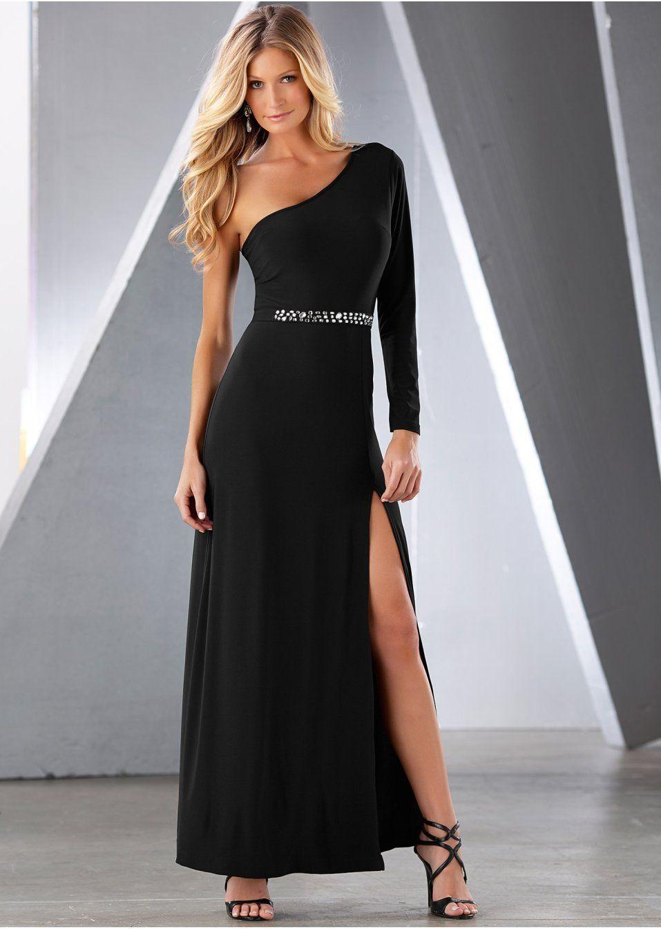 Für einen glanzvollen Auftritt! One-Shoulder-Kleid mit Schlitz am Bein. Vorne mit Strassbesatz für eine betonte Taille. Aus weichem Jerseystoff.