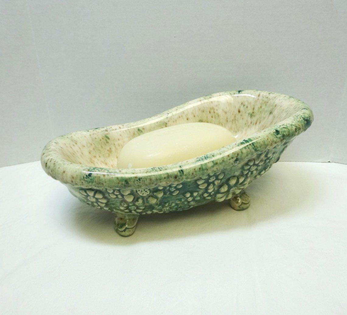 1981 Ceramic Bathtub Soap Dish With Yardley Bath Bar Claw Foot Tub With Green Glaze Flowers 8 Inches Long Signed Ceramics Ceramic Bathtub Ceramic Shop Decorative Bowls