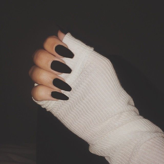 Matte Black Squoval Acrylic Nails Coffin Nail Goals Acrylic
