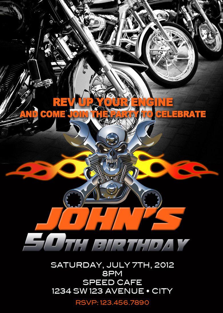 Motorcycle Invitation Printable File DIY Bike by artisacreations – Free Printable Harley Davidson Birthday Cards