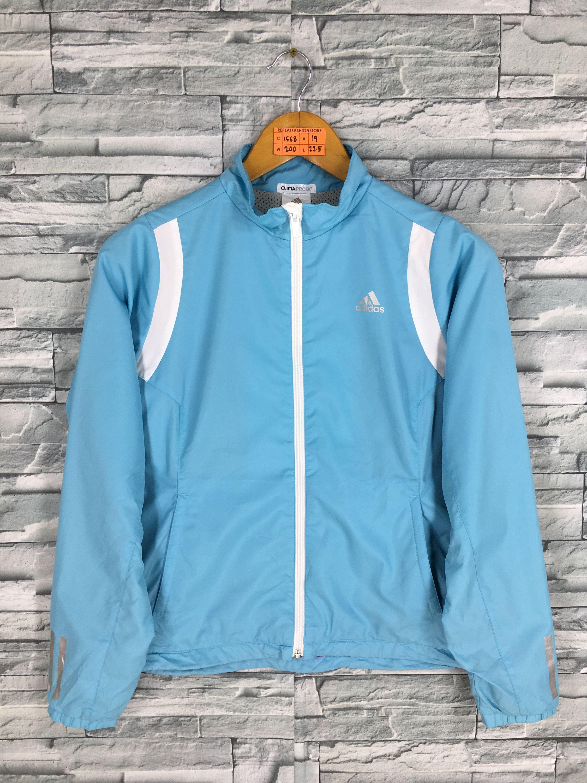 735f6bee94 Vintage 90 s ADIDAS Windbreaker Jacket Ladies Small Adidas Equipment Three  Stripes Sportswear Track Top Adidas Blue Zipper Jacket Size S by ...