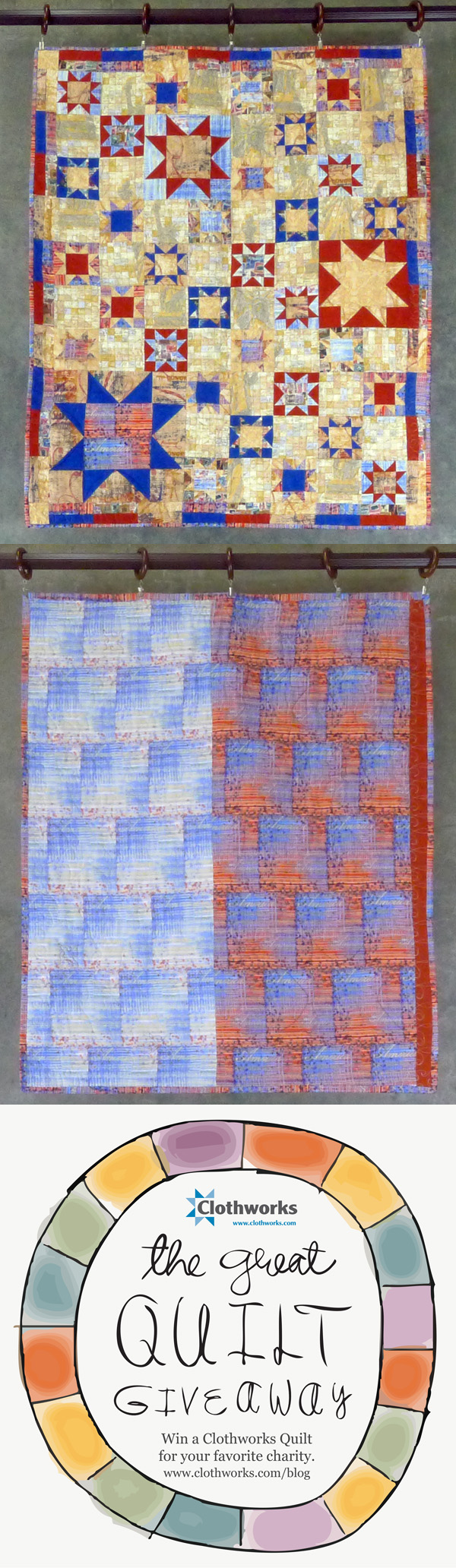 Repin this to help me win quilts to raffle off to feed  hungry children! Fabric collection: America by Karen Roti for Clothworks. #Clothworksquiltgiveaway