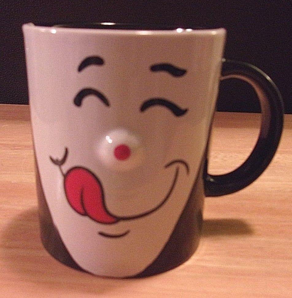 Happy Face Coffee Tea Mug Licking Lips Yummy Tastes Good