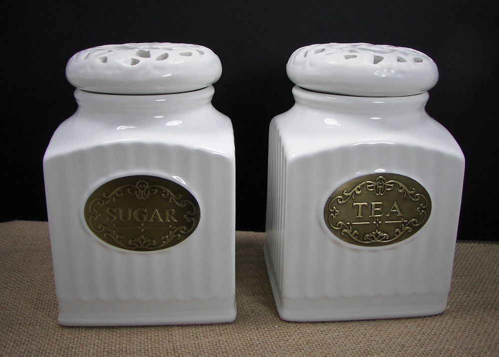 thl kitchen canisters thl off white ceramic shabby chic tea sugar canister set w openwork lace lids thl sugar 3232