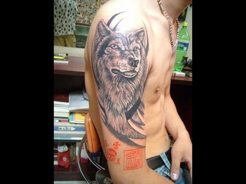 Tribal And Grey Ink Wolf Tattoo On Right Half Sleeve Jpg 1024 768 Wolf Tattoo Design Tribal Wolf Tattoo Tribal Animal Tattoos
